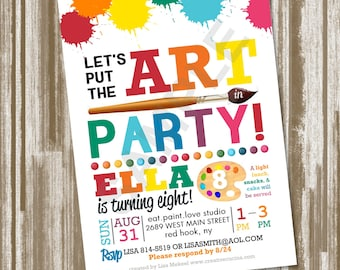 Art Party Birthday Invitation--CUSTOM PRINTED Set of 25 Invitations--Includes Envelopes! (2.00 each)
