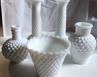 VNTG Fenton Milk Glass Hobnail Assorted Lot