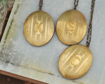 INITIAL LOCKET,  vintage brushed brass letter locket necklace, large pendant, oval brass locket, long necklace, personalized gift for women