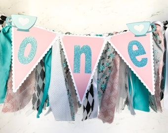 Alice in Wonderland First Birthday, Highchair Banner, Onderland Tea Party, Fabric Highchair Garland, Girl 1st Birthday,  1st Birthday Ideas