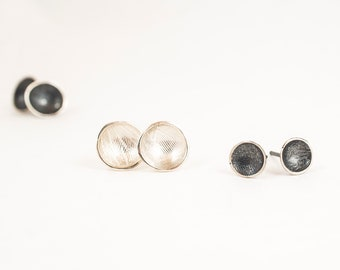 Cups and Quattrefoil posts- Sterling silver handmade earrings - Textured Studs, Bright or Oxidised, Great for Everyday Wear