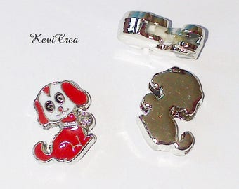 2 x red enameled dog loops and rhinestone silver plated beads
