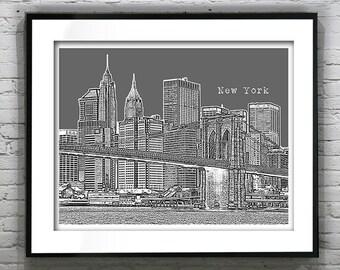 New York City Skyline Art Print Poster NYC Brooklyn Bridge Item T1009