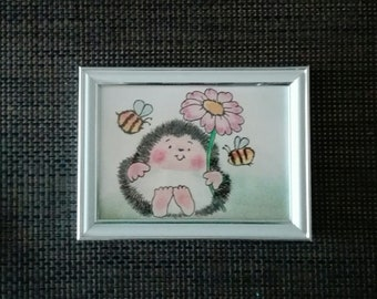 Animal painting, framed, handmade with pastel pencils.