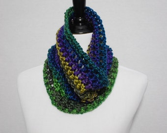 SALE! Blue, Green, Purple, Gold Crochet Cowl, Handmade Cowl, Striped Neck Warmer, Mesh Infinity Scarf, Striped Mesh Cowl