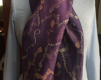 Hand Painted Batik Silk Scarf - Long - Narrow - Hand Dyed Skinny Scarf - Purple - Organic - Geometric - One Of A Kind