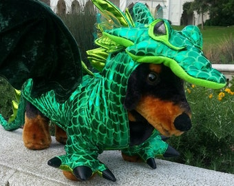 Green Dragon costume for Dogs by TKCCOZYPAWZ