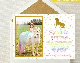 Unicorn Photo Invitation // Unicorn Invitation // Rainbow Unicorn Invitation // Unicorn Birthday Invitation // Unicorn Invite // Unicorns
