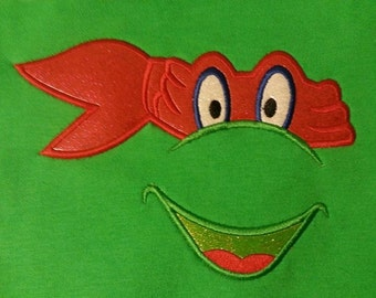 Instant Download TMNT inspired face - Embroidery Design Applique Ninja Turtle Mutant