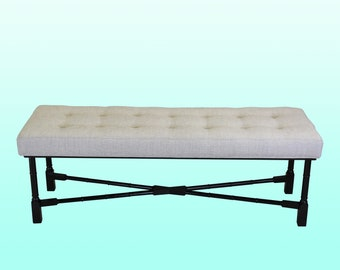 Black Lacquered & Chenille Bench - Mid Century Bench - Linen Bench