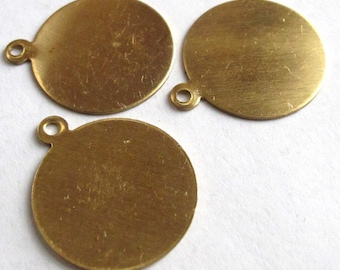 Raw Brass Engraving Circle Charms - with bail - 19mm X 23mm (6X) (M651-A)