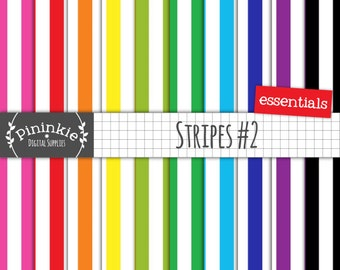 Stripe Digital Paper, Scrapbooking Paper 12 x 12, Digital Background, Commercial Use
