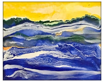 Encaustic Ocean Painting, Abstract Oil & Wax Painting, Studio Painting of Ocean, Contemporary Art with Frame Original by YakiArtist  8x10