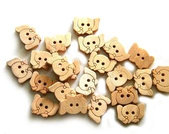10 Wooden Elephant Buttons