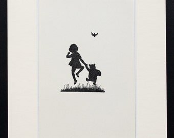Mounted Winnie The Pooh Print,  Christopher Robin and Pooh in Silhouette, Matted Vintage 1930s Black and White Print