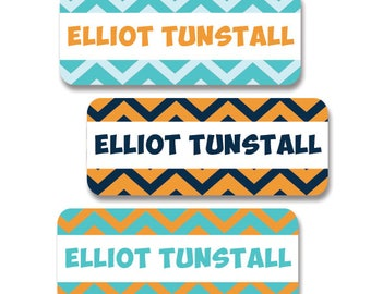 30 Waterproof Name Labels for Boys, Chevron, Tribal, Dishwasher Safe, Baby Bottle Labels, Daycare, Sippy Cup Labels