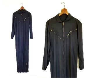 Vintage 1980s Jumpsuit | Black Coveralls | 80s Jumpsuit | Small S