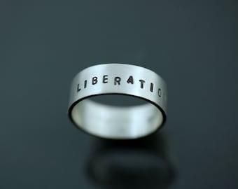 Hand Stamped Ring, Total Liberation, Animlas Freedom, Animal Liberation, Vegan Activist, Vegan Ring, Vegan Band, Vegan Friendly, Vegan Gift