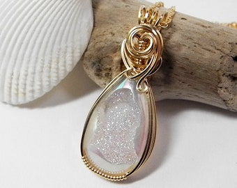 White Opalescent Druzy Necklace Wire Wrapped in 14 KT Gold Fill Fine Wire