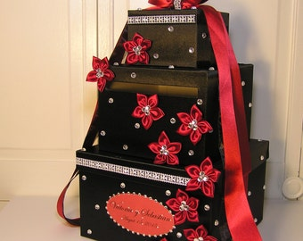 Wedding Card Box Black and Red/Scarlet Gift Card Box Money Card Box Holder-Customize Your Color