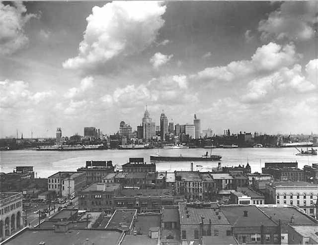 Old Detroit Skyline 1929 Seen From Windsor Ontario Canada