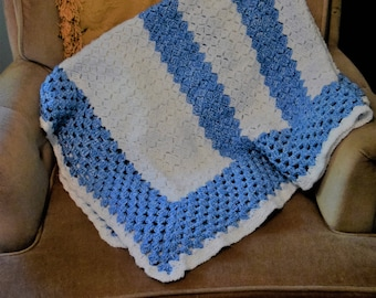 hand crocheted blue and white baby or lap blanket
