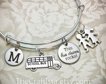 BUS, Personalized Bus Driver Gift, BUS, Bus Driver Bangle, Bus Driver Bracelet, Bus Driver Gift, Gifts for A Bus Driver, School Bus Charm