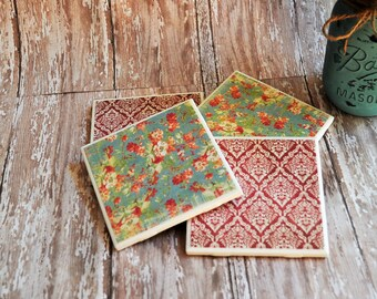 Cottage Chic Coasters, Tile Coasters, Set of 4 Coordinating Coasters, red & blue floral coasters, red damask, 4 Inch Square Tile Coasters