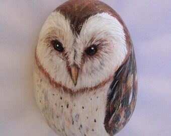 Barn owl rock, hand painted stone art, bird gifts, garden decor, pocket art, wildlife portrait, travel totem, animal artwork, owl paintings