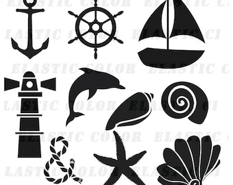 Nautical svg silhouette clipart pack - Nautical clip art digital download svg, dxf, eps, png