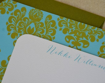 Personalized Notecards ~ Moss + Turquoise Damask