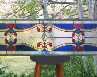 "Stained Glass Window Panel--Art Nouveau Transom -- 11 "" x  70"""