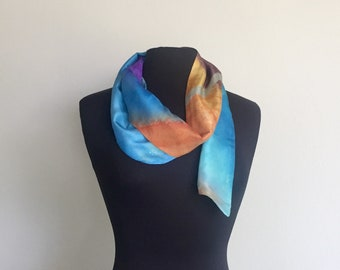 Hand Painted Silk Pussy Bow, Sash, Scarf, Belt, Reversible Silk Scarf, Art to wear fashion accessory, Made in USA, Hand Made
