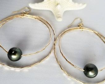 Tahitian Pearl gold hoop earrings