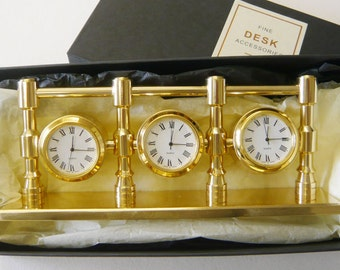 Solid Brass Triple World Time Zone Clock