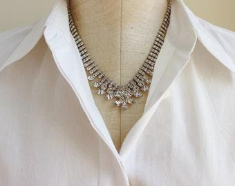 Vintage 1950s Rhinestone Bib Collar Necklace Silver