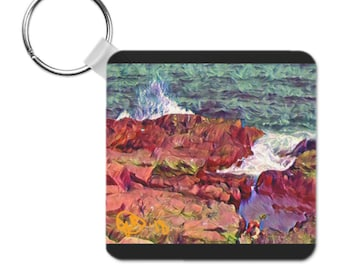 Waves and water keychain. (Available 1/30/2018)