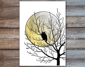 owl tree art print, owl decor tree branch decor moon owl