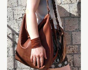 Handmade beige leather hobo bag