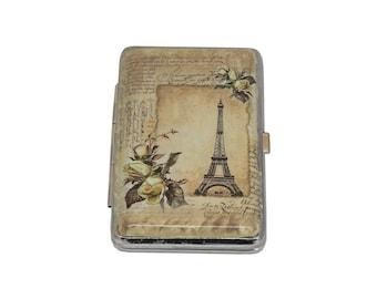 Eiffel Tower Cigarette Case, Metal Cigarette Case, Cigarette Holder, Vintage Decoupage Cigarette Case, Cigarette Box, Business Card Holder