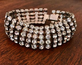 1930s Vintage Brilliant Rhinestone Bracelet Beautifully Made Excellent Condition