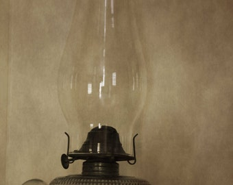 Antique Glass Hurricane Lamp in Sepia Post Processed Photograph Photography by Colleen Cornelius Bring the Outdoors In Zen Home Decor