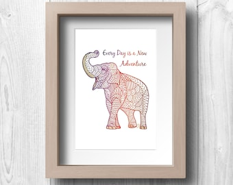 "Asian Elephant and Quote - ""Every Day is a New Adventure"" - Printable Wall Art"