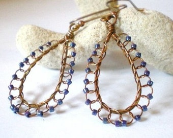 Copper and Purple Seed Bead Lacy Wire Woven Tear Drop Hoops Earrings