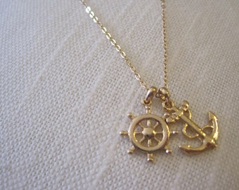 Gold Ships Wheel and Anchor Necklace - Ships Wheel Necklace - Anchor Necklace - Nautical Necklace