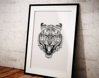 Printable Wall Art, Printable Line Drawing, Line Drawing Tiger, Animal Printable, Printable Sketch Art, Home Decor, Line Art, Drawing, Tiger