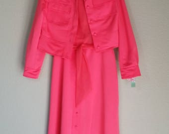 Vintage 1970's Designer Dress by Jack Bryan, Designed by Dupuis, Coral Maxi Dress with Jacket, Size S/M, #63645