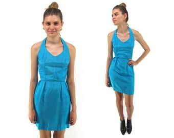 Vintage 80s Halter Dress, Mini, Body-Con, Taffeta, All Night Long Dress Δ size: xxs