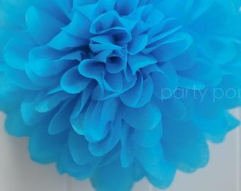Turquoise .. tissue paper pom .. birthday decor / wedding decorations