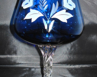 Blue Glass etched  brandy glass
